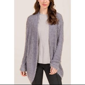 grey fuzzy cardigan